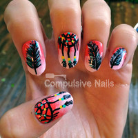 Dream Catcher Ombre Pink Fake Nails by CompulsiveNails on Etsy