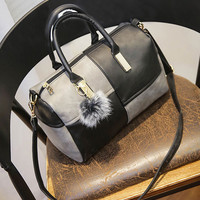 Grey Vintage PU Leather Contrast Color Zipper Closure Crossbody Tote Bag for Women
