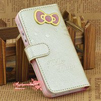 Hello Kitty Bow Butterfly Gold Leather Flip ID Card Wallet Case For IPhone 5