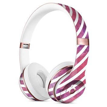 White Slanted Lines Over Pink and Purple Grunge Surface Full-Body Skin Kit for the Beats by Dre Solo 3 Wireless Headphones
