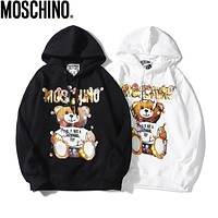 MOSCHINO Classic Popular Men Women Casual Cute Bear Print Hoodie Sweater Sweatshirt