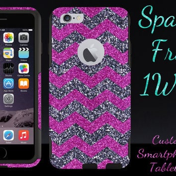 "OtterBox Commuter Series Case for 4.7"" iPhone 6 - Custom Glitter Case for 4.7"" iPhone 6 - Smoke Small Chevron Raspberry/Black"