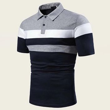Fashion Casual Men Cut And Sew Panel Polo Shirt