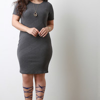 Diagonal Rib Knit Midi Dress