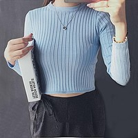 2018 Spring Autumn Tops Women O-neck Long Sleeve Sexy High Waist Sweater knitted Cropped knitwear Women Sweaters Pullovers 1307