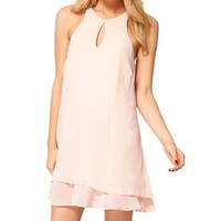 Magic Pieces Pink Cut Out Front Dress With Cross 051310 C0529
