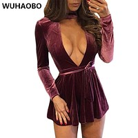 Sexy Deep V Open Chest Sashes Mini Pleated Dresses Wine Red Soft Fluff Dress Full Sleeve High Waist Sweetheart Spring Dress