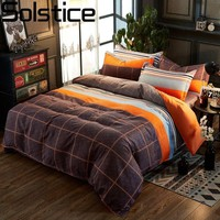 Solstice Home Textile King Single Bedding Sets Orange Brown Plaid Duvet Cover Pillowcase Flat Sheets Woman Teen Adult Bedclothes