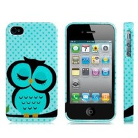 Lovely Sleeping Owl Printed Polka Dots TPU Case for iPhone 4 4G 4S