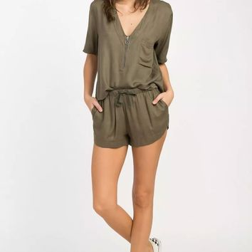 Cluless V Neck Top - Burnt Olive Green