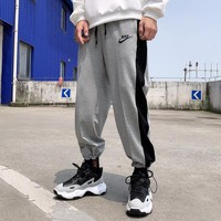 """""""NIKE"""" Unisex Casual Letter Print Pocket Sweatpants Splicing Couple Thickened Leisure Pants Trousers"""