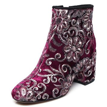 Floral Print Chunky Heeled round toe ankle boots with side zipper