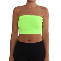 Women's Strapless/Seamless Tube Top Bandeau - Neon Green