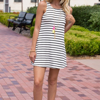 Fall into Line Stripe Tank Dress- WHITE/BLACK