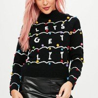 Missguided - Black Let's Get Lit Christmas Pom Pom Detail Sweater
