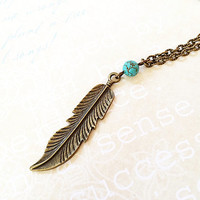 Feather Necklace - Simple Bohemian Jewelry - Woodland - Tribal - Feather Pendant - Vintage - Boho Chic - Long Brass Necklace