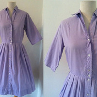 "Vintage 1950s Purple Lilac Dress | 1960s Shirtwaist Dress | Purple Cotton Dress 26"" Waist"