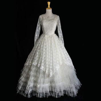 Vintage 1950s Wedding Dress Cupcake Dream White Tulle Lace Gown Bombshell XS XXS