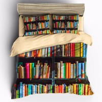 AHSNME Color Bookshelf Bedding Sets Duvet Cover pillowcase set