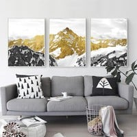 3PCS Golden Snow Mountain Golden Mountain Abstract Wall Art Print Canvas Painting Decorative Picture for Home Decor Poster