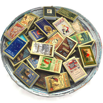Seventy Five (75) Golden Book Covered Matchboxes - Read by Candlelight - Unique Home Decor - Tiny Gift - Light an Adventurous Spark