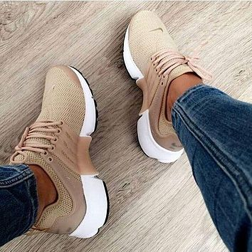 NIKE Air Presto Khaki Fashion Women/Men Running Sport Casual Cushion Shoes