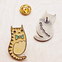 Bowtie Cat Enamel Pin / Brass Lapel Pin by boygirlparty