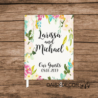 Custom guestbook, Guest Book, Wedding journal personalized wedding guestbook, Floral sign in personalized keepsakes wedding ideas gifts