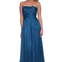 Luxy A-line Strapless Wedding Bridesmaid Evening Prom Dress Teal