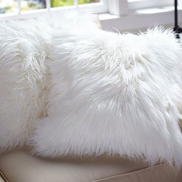 """Faux-Fur Long Shaggy Ivory Pillow Cover, 18"""""""