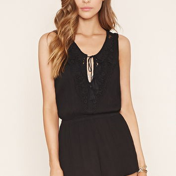 Crochet-Paneled Romper