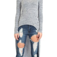 Distressed Knit Hi Lo Top in Heather Blue
