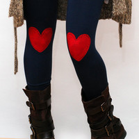 Red heart patched leggings, tights in navy