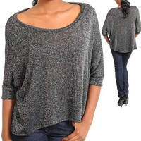 G2 Fashion Square Boat Necklined Black Silver Shimmer Top(TOP-CAS,BLK-S)