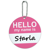 Starla Hello My Name Is Round ID Card Luggage Tag
