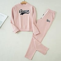 "Women ""Queen"" Letter Casual Top Sweater Pants Trousers Set Two-piece Sportswear Pink"