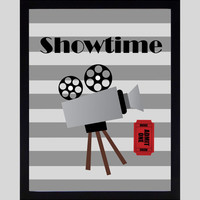 Showtime Popcorn Action Movies Home Theater Art Prints CUSTOMIZE YOUR COLORS, 8x10 or 11x14 Prints, Movies, Home Theater Wall Decor Wall Art