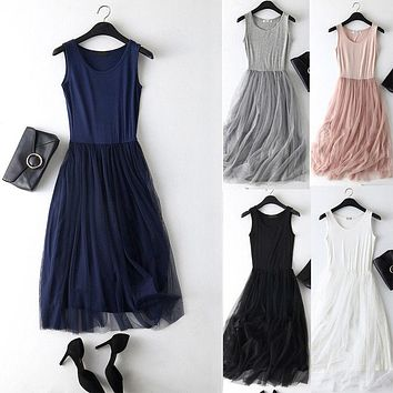 Women Ladies Summer Patchwork Mesh Party Dress Casual Sleeveless Tulle Tutu Long Dress One Size