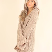 WALK ON OUT CHENILLE SWEATER - TAUPE