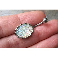 Iridescent Sparkly Druzy Belly Button Jewelry Ring