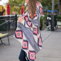 Warm Of The Country Cardigan, Pink-Navy
