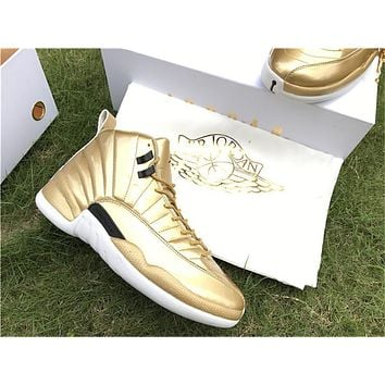 Air Jordan 12 Pinnacle Gold Basketball Shoes 36-47