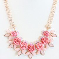 Pink Rose Chain Necklace Set