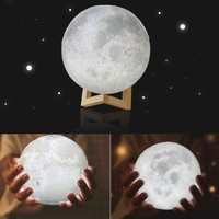 3D LED Moon Night Light with Base Moonlight Lamp Creative Indoor Table Desk Lamp