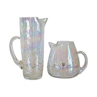 Pre-owned Iridescent Glass Pitchers - A Pair