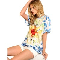 Tops and Tees T-Shirt SHEIN Graphic Letter Print Tie Dye Tee Women Round Neck Short Sleeve Casual Oversized Top Tee 2018 Summer Street Style T-shirt AT_60_4 AT_60_4