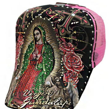 * La Virgin De Guadalupe Cap In Black Pink