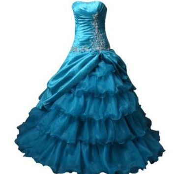 Winey Bridal® Strapless Beading Corset Hunter Formal Ball Gown Quincearnera Dresses