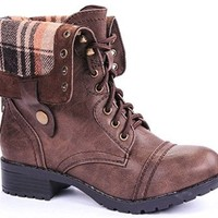 H-7 Military Combat Foldable Cuff Faux Leather Plaid/Quilted Back Zipper Lace Up Boots