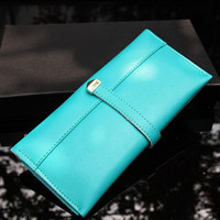 Modern Turquoise Ladies Leather Wallet. Genuine Leather Purse. Vivid Color Long Wallet